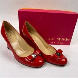 Kate Spade Red Patent Leather Close Toed Wedges 10
